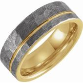 Gents Tungsten 8mm grooved wedding band