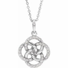 14k white gold diamond accented Five Fold Celtic necklace