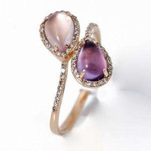 Amethyst and Rose Quartz Ring