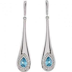 14k Blue Topaz and Diamond Dangle Earrings