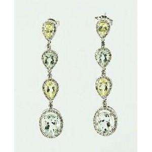 14k Green Amethyst & Lemon Quartz Dangle Earrings