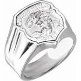 Sterling Silver St. Michael Medal Badge ring