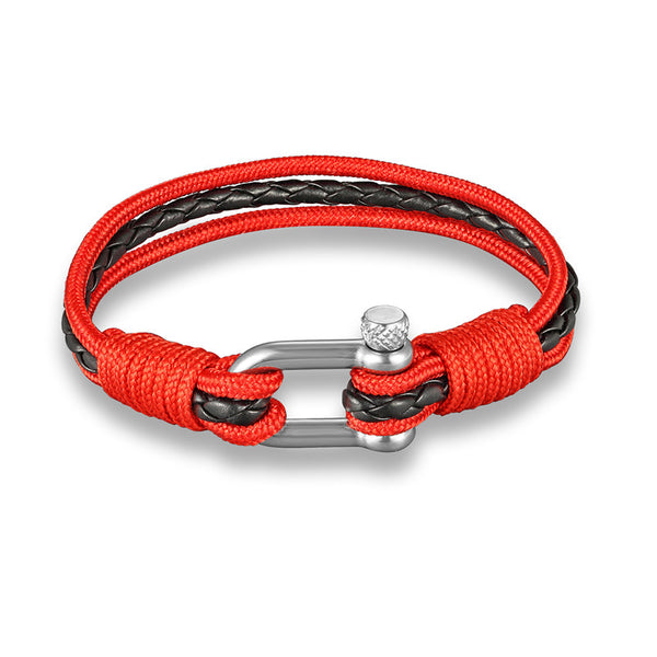 bracelet homme boissier paris acier et cordage rouge made in france