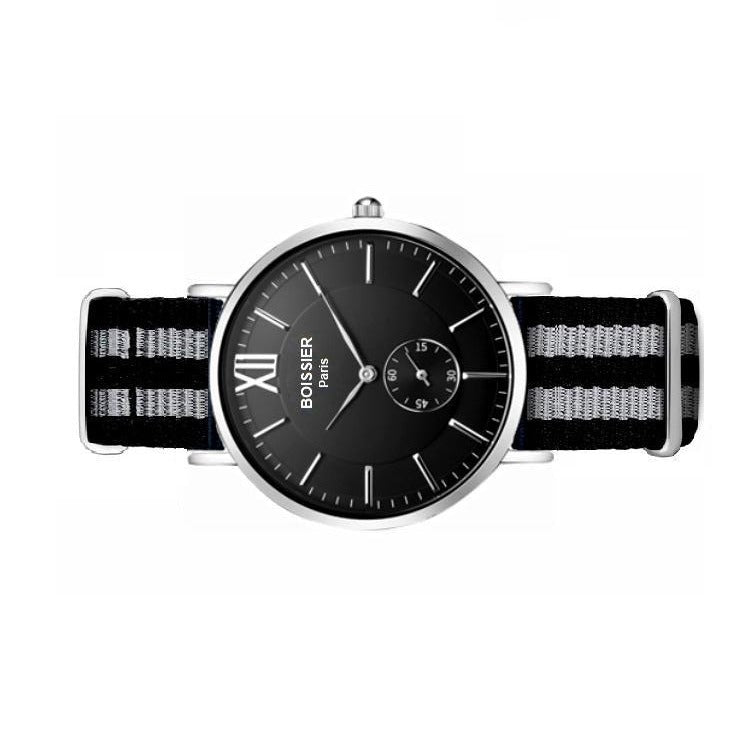 montre homme sport boissier paris bracelet nato fond noir made in france
