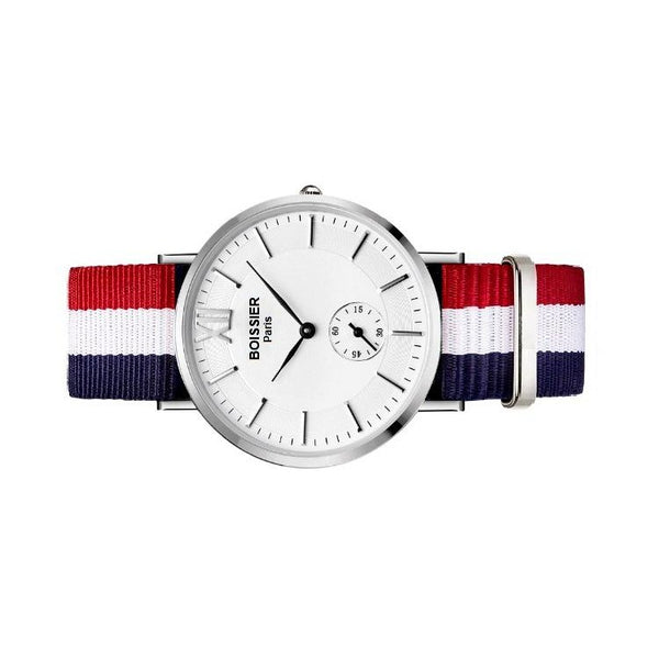 montre homme sport boissier paris bracelet nato bleu blanc rouge fond blanc made in france