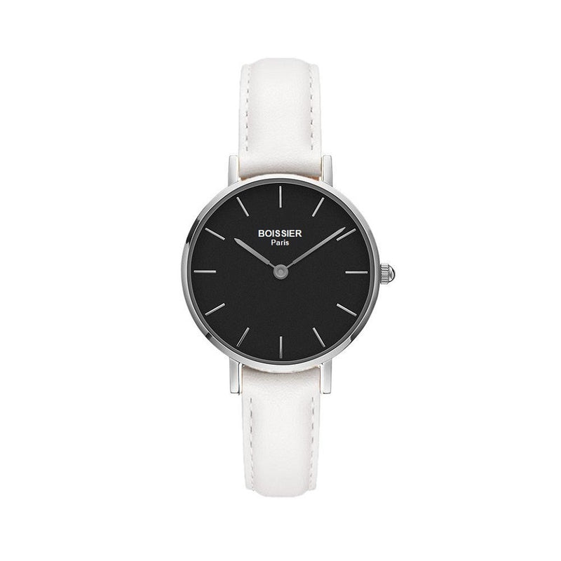 montre boissier paris femme cuir blanc cadran noir 32 mm made in france