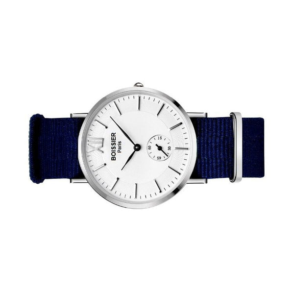 montre homme sport boissier paris bracelet nato bleu fond blanc made in france