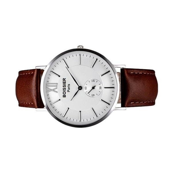 Genève Original - BOISSIER Paris montre homme cuir marron fond blanc made in france