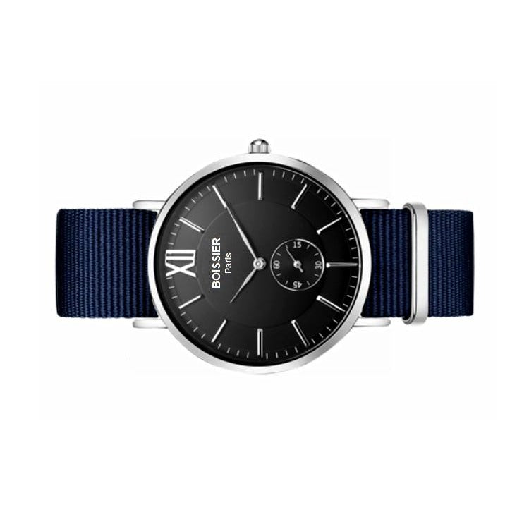 montre homme sport boissier paris bracelet bleu nato fond noir made in france