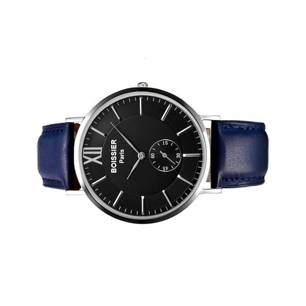 Lyon Original - BOISSIER Paris montre homme bracelet cuir bleu cadran noir made in france
