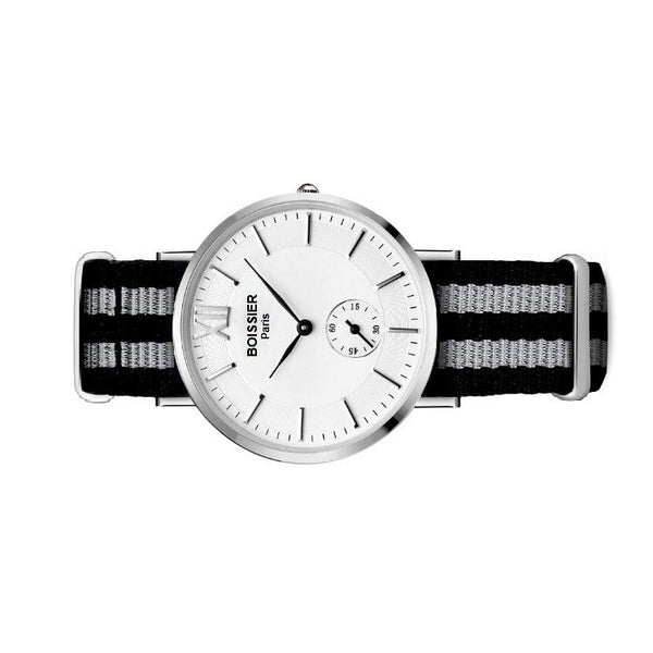 montre homme sport boissier paris bracelet nato fond blanc made in france