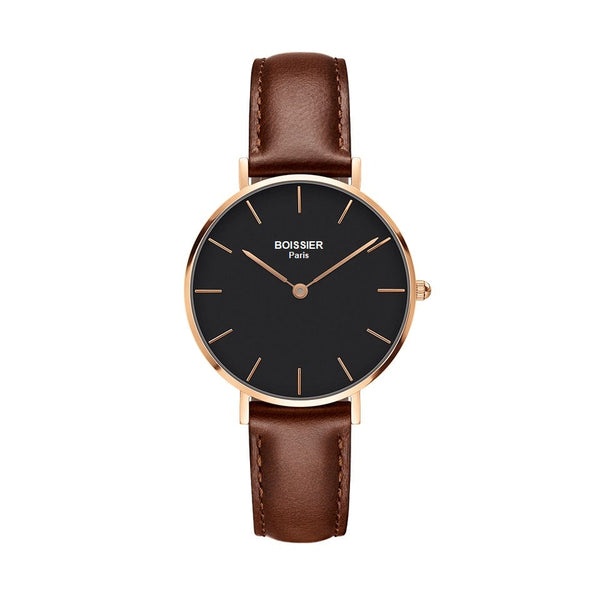 montre femme boissier paris bracelet cuir marron fond noir or rose made in france cadran 32 mm