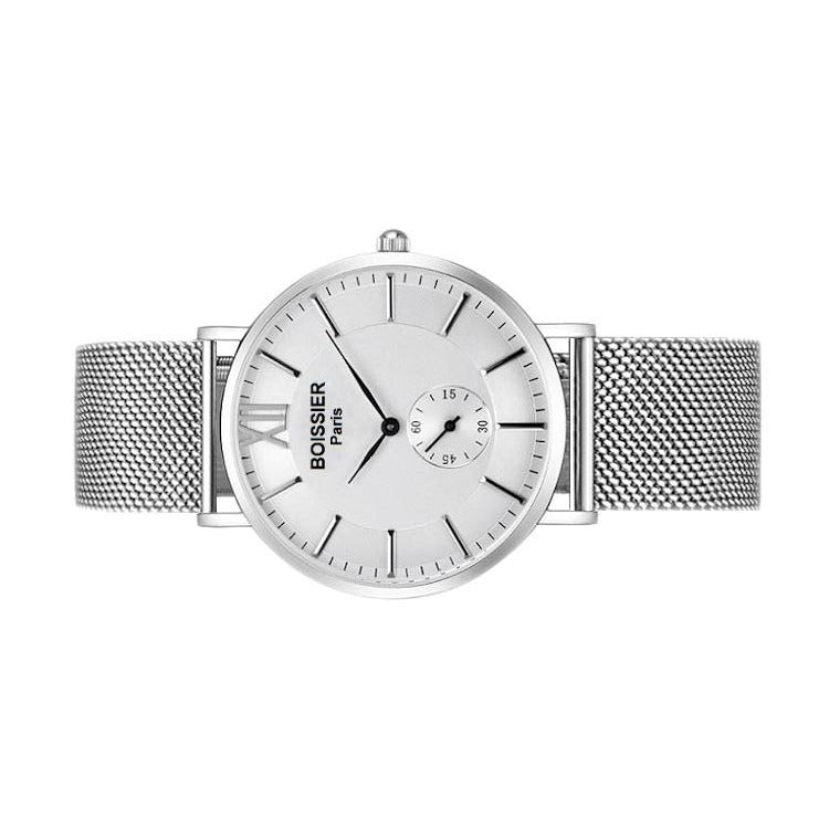 Moscou Original - BOISSIER Paris montre homme fond blanc maille milanaise argent made in france