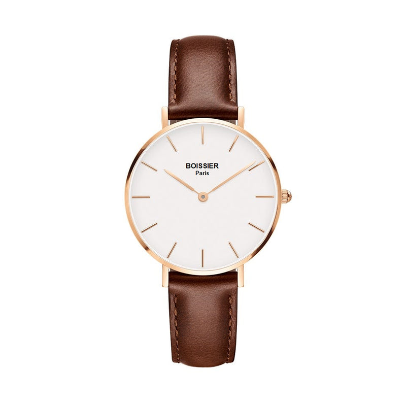 montre femme boissier paris bracelet cuir marron fond blanc or rose made in france cadran 32 mm
