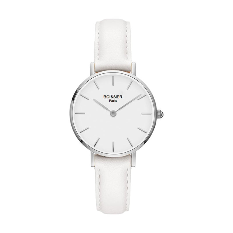montre femme boissier paris cuir blanc fond blanc cadran 32 mm made in france