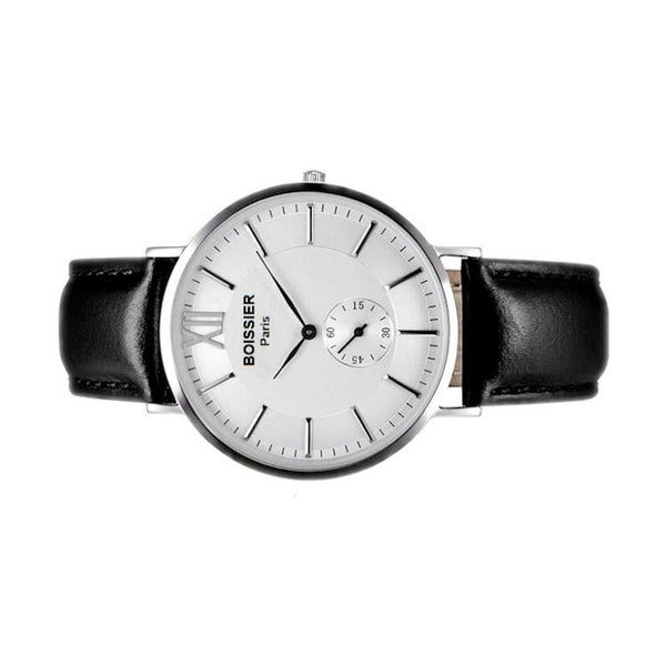Paris Original - BOISSIER Paris montre homme made in france cuir noir fond blanc