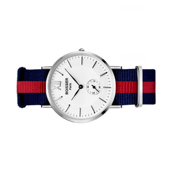 montre homme sport boissier paris bracelet nato bleu et rouge fond blanc made in france