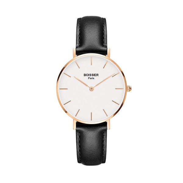 montre femme boissier paris bracelet cuir noir fond blanc or rose made in france cadran 32 mm