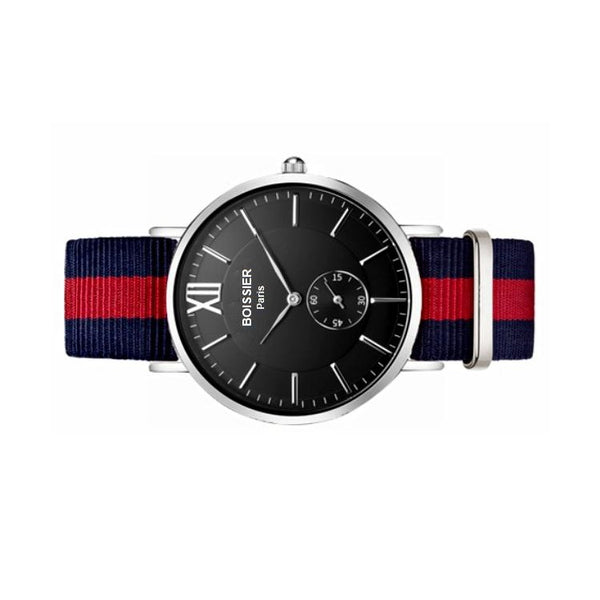 montre homme sport boissier paris bracelet nato bleu et rouge fond noir made in france