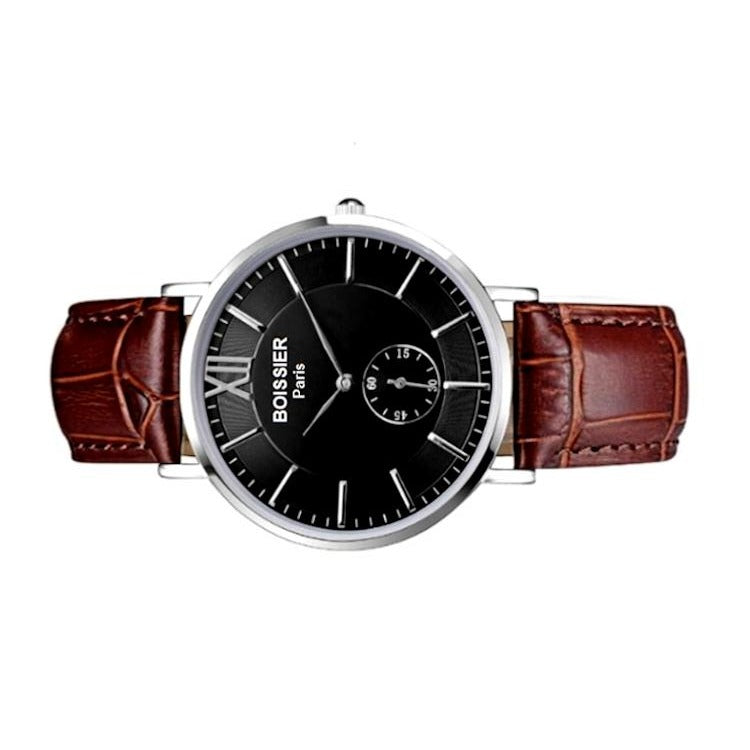 Venise Original - BOISSIER Paris montre homme bracelet cuir crocodile marron cadran fond noir made in france