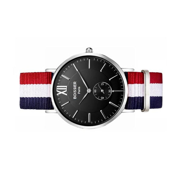 montre homme sport boissier paris bracelet nato bleu blanc rouge fond noir made in france