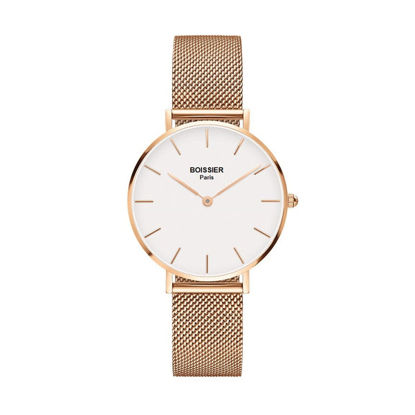 montre femme boissier paris or rose maille milanaise fond blanc made in france cadran 32 mm