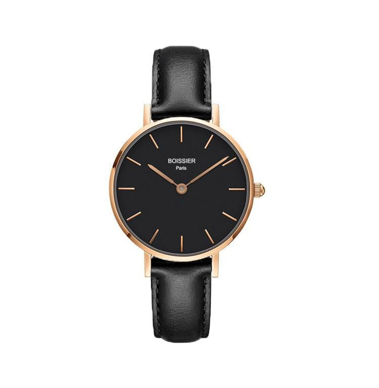 montre boissier paris femme cuir noir cadran noir 32 mm made in france