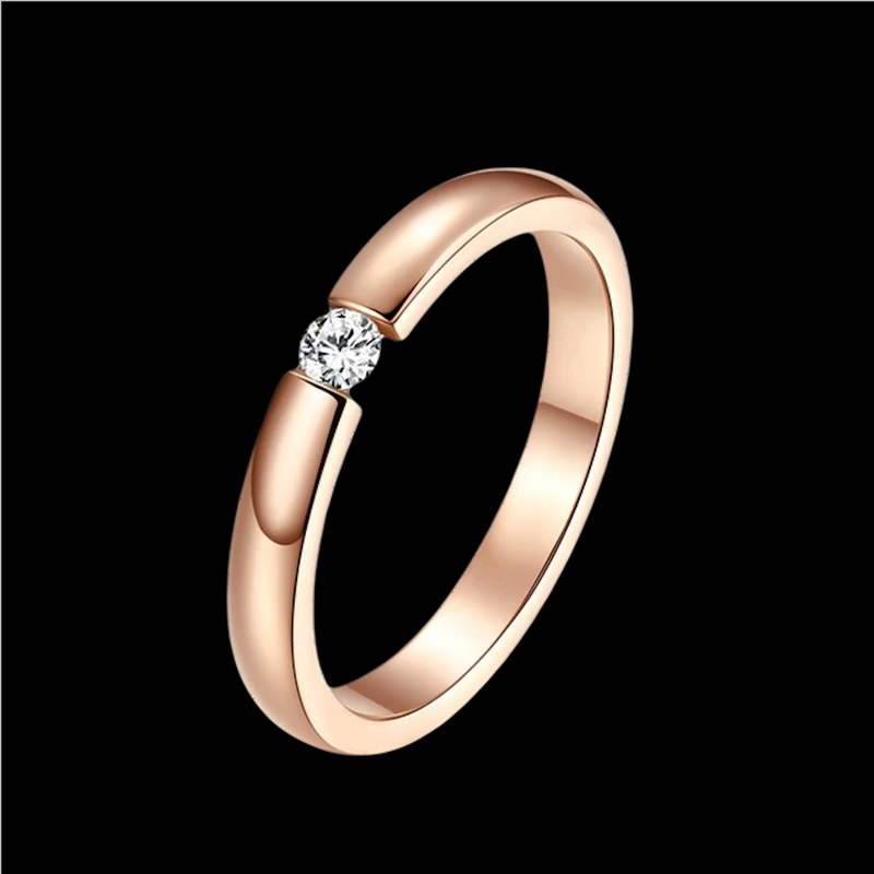 Bague Or Rose Solitaire