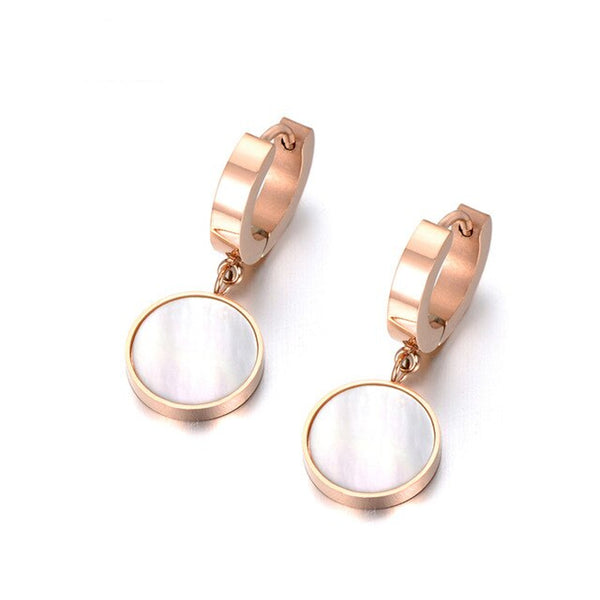 Boucle d'Oreille Or Rose Nacre Blanche