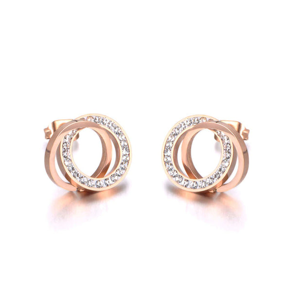 Boucle d'Oreille Or Rose Rond Blanc
