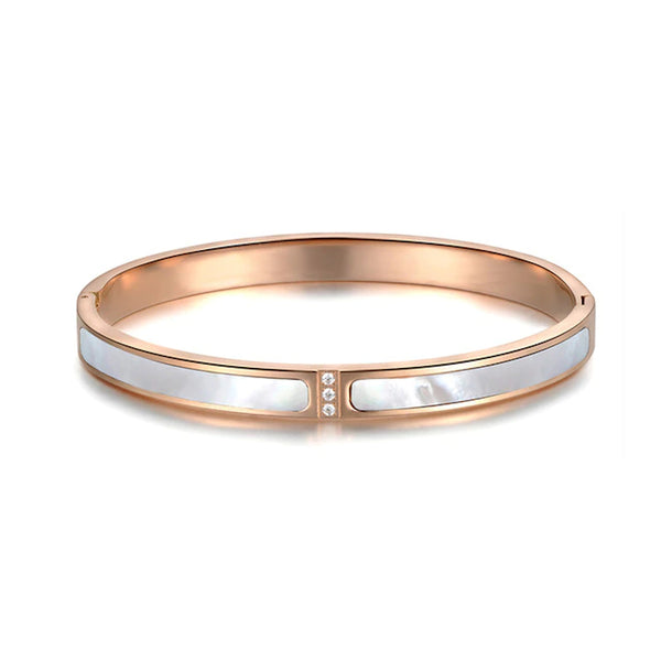 Bracelet Or Rose Nacre Blanche