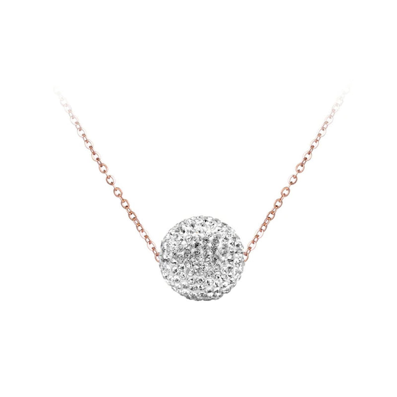 Collier Or Rose Boule Blanche