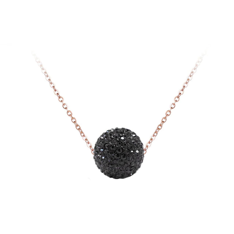Collier Or Rose Boule Noire