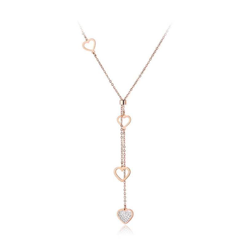 Collier Or Rose Coeurs Cristaux