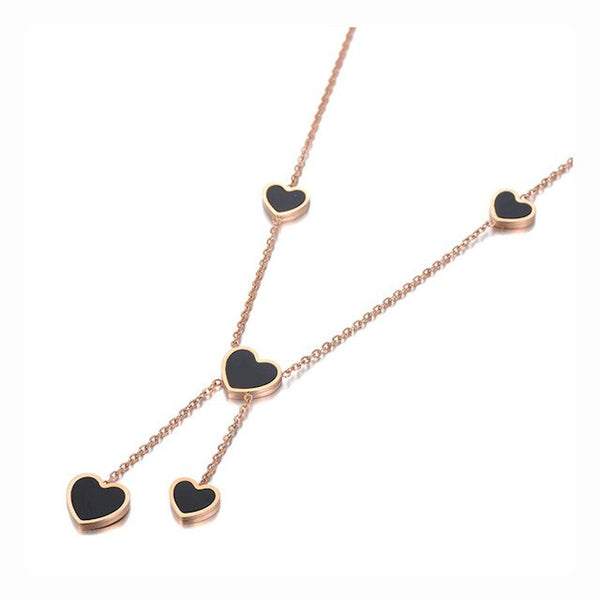 Collier Or Rose Coeur Noir