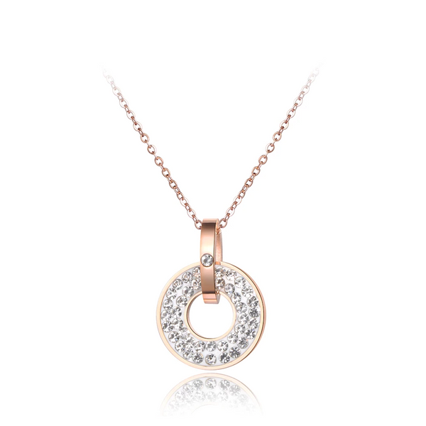 Collier Or Rose Rond Blanc