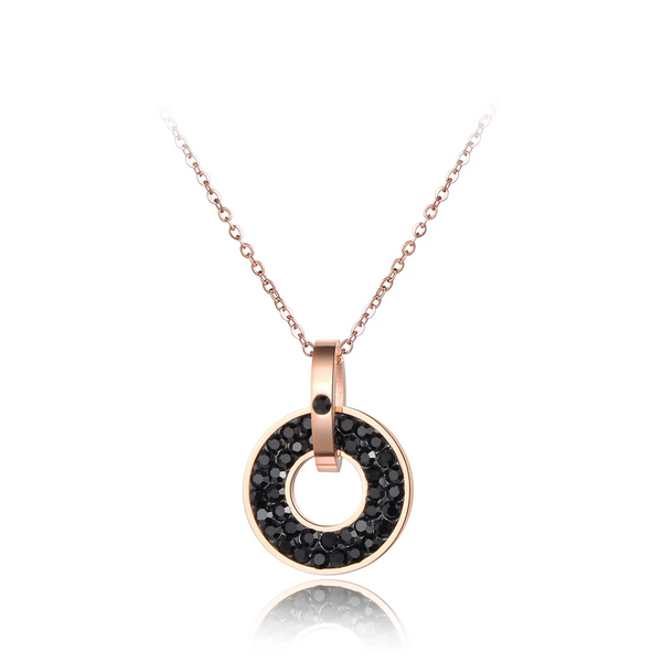 Collier Or Rose Rond Noir