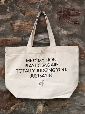 """Me & My Non Plastic Bag..' Organic Cotton Tote Bag"