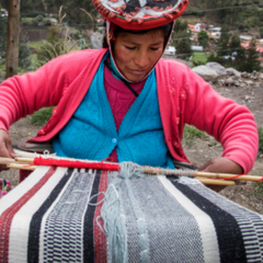 Andean woman weaving