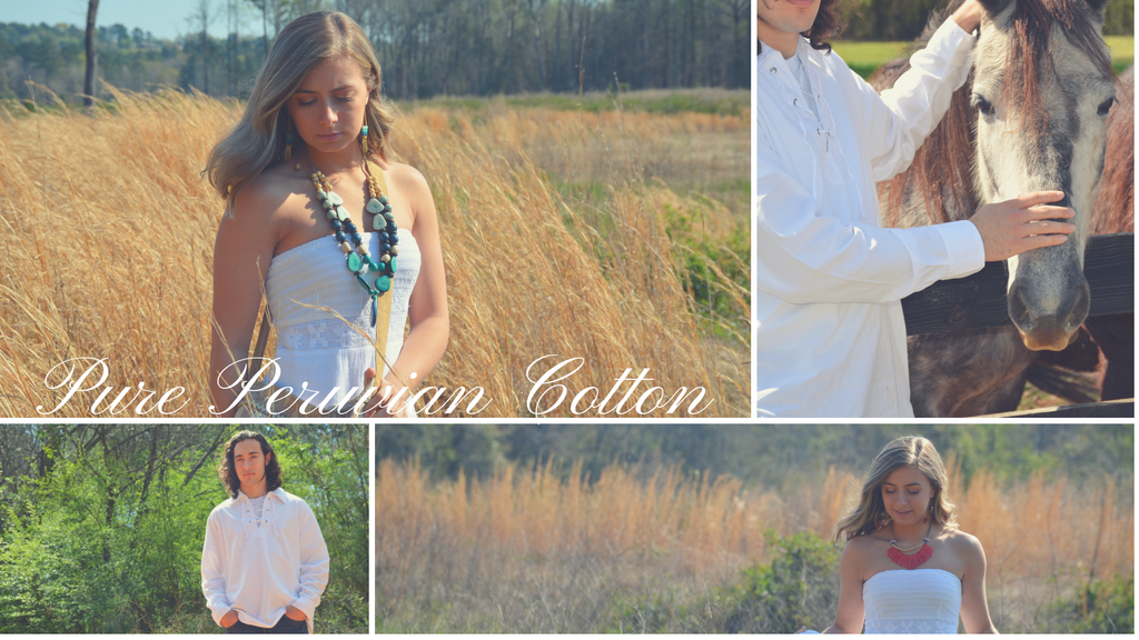 Peruvian cotton dresses and men's wear look book