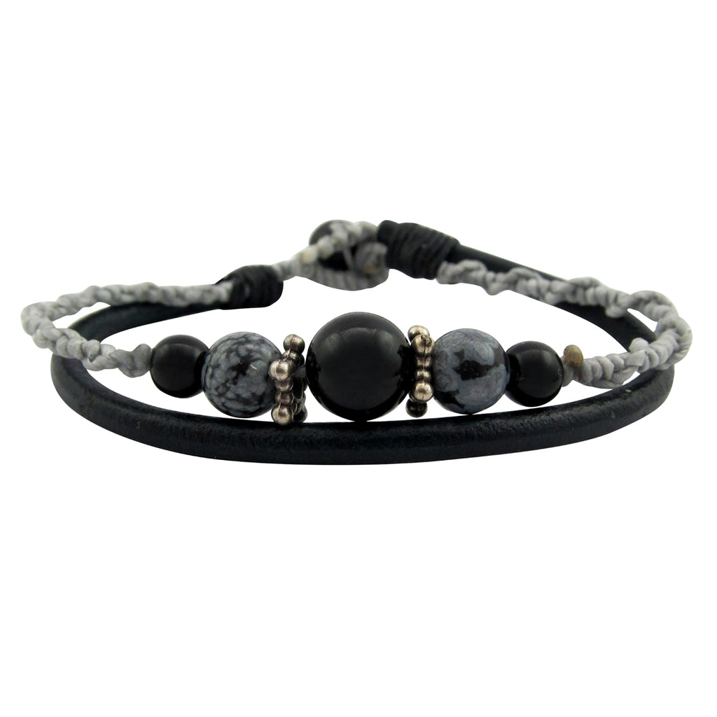 Leather Gemstone Bracelet