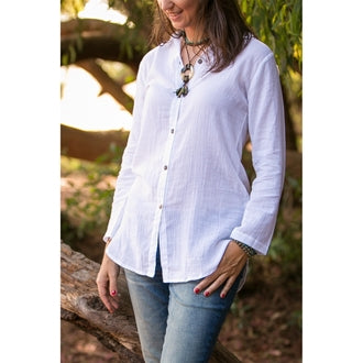 Button Down Blouse White