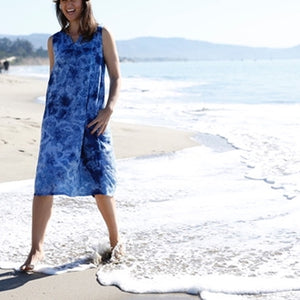 Sleeveless Cotton Dress Indigo
