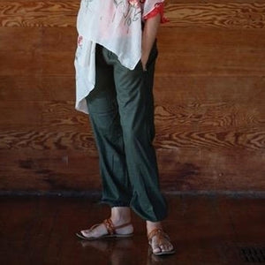 Brown Linen Pant with Elastic Leg