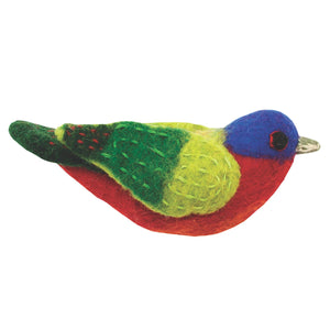 Felt Bird Garden Ornament - Painted Bunting Handmade and Fair Trade