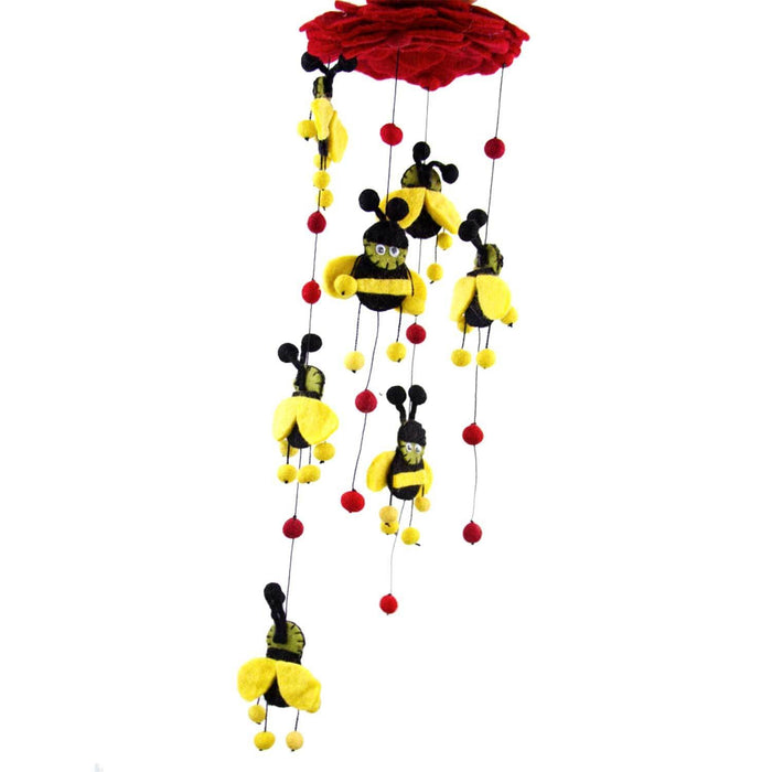 Handmade Red Felt Bumble Bee Mobile