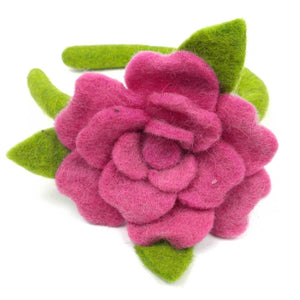 Handmade Felted Rose Headband Pink