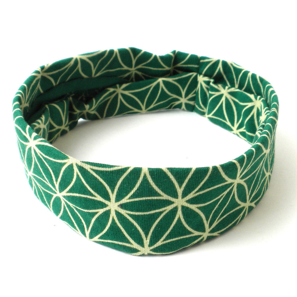 Handmade Flower of Life Green Headband