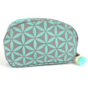 Handmade Flower of Life Makeup Bag Grey and Turquoise