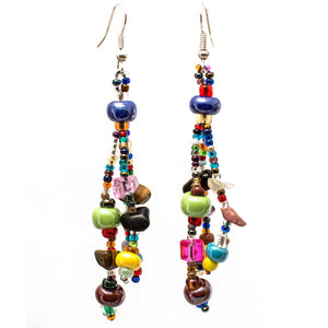 Handmade Beach Ball Multi Colored Earrings